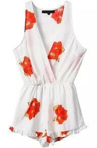 Deep V Neck Sleeveless Florals Orange Jumpsuit