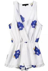 Deep V Neck Sleeveless Florals Blue Jumpsuit