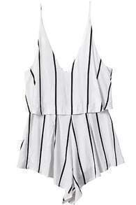 Spaghetti Strap Vertical Striped White Jumpsuit