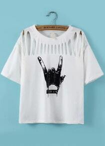 With Rivet Hand Print Hollow White T-shirt