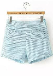 Side Zipper With Pockets Pale Blue Shorts