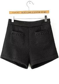 Side Zipper With Pockets Black Shorts