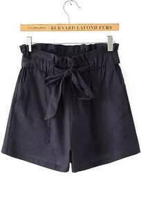 Drawstring With Pockets Navy Shorts