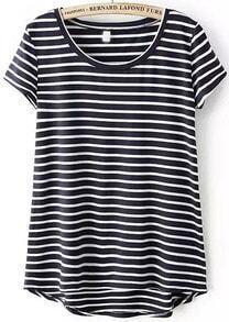 Black Short Sleeve Striped Dip Hem T-Shirt