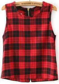 Red Round Neck Plaid Zipper Tank Top