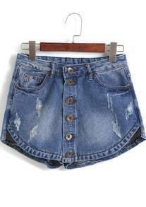 Blue Ripped Bleached Pockets Denim Shorts