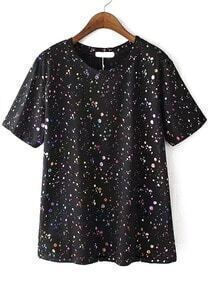Speckled Print Side Split Black T-shirt