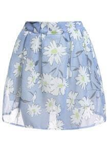 With Zipper Chrysanthemum Print Flare Skirt