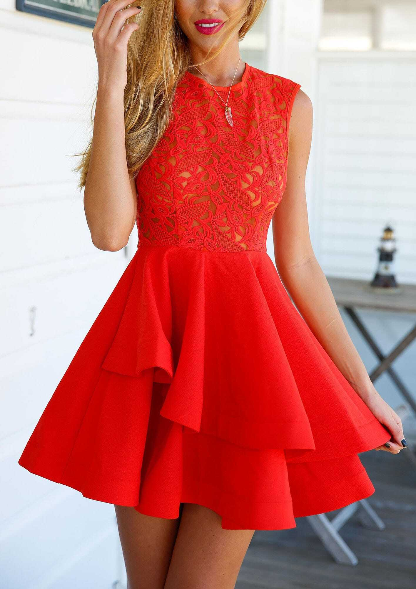 With Zipper Lace Insert Flare Red DressFor Women-romwe