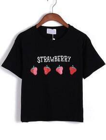 Strawberry Print Black T-shirt