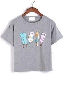 Ice Cream Print Grey T-shirt