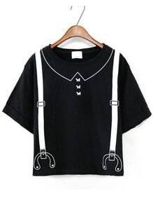 Strap Print Black T-shirt