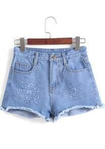 Blue Fringe Pockets Denim Shorts