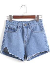 Blue Notch Fringe Denim Shorts
