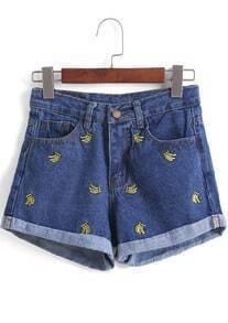 Navy Banana Embroidered Flange Denim Shorts