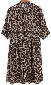 Yellow Stand Collar Leopard Print Chiffon Dress