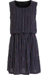 Blue Sleeveless Vertical Stripe Chiffon Dress