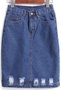 Navy Pockets Ripped Denim Skirt