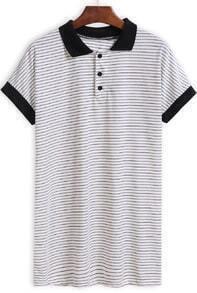 Black White Lapel Buttons Striped T-Shirt