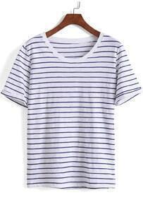Blue Short Sleeve Striped Loose T-Shirt