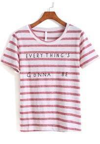 Pink Short Sleeve Striped Letters Print T-Shirt