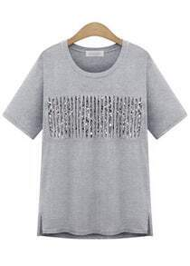 With Sequined Side Split Grey T-shirt