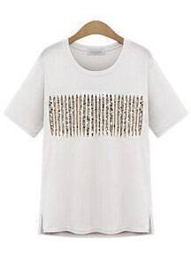 With Sequined Side Split White T-shirt