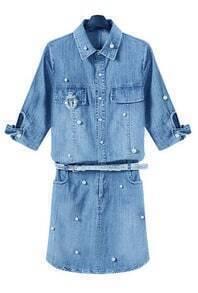 Lapel With Pearl Pockets Denim Dress