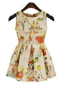 Sleeveless Florals Flare Yellow Dress