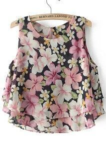 Double Layels Florals Pink Tank Top
