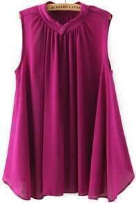 Stand Collar Pleated Purple Top