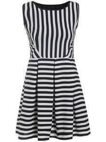 Vertical Striped Flare Sun Dress