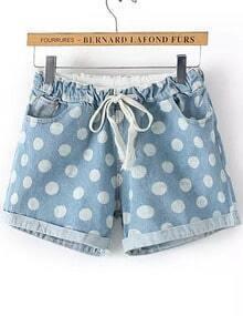 Blue Drawstring Waist Polka Dot Shorts