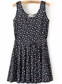 Black Sleeveless Drawstring Waist Floral Pleated Dress