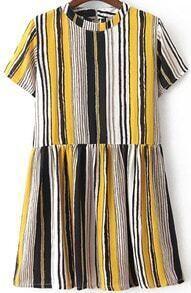 Short Sleeve Vertical Striped Yellow Dress