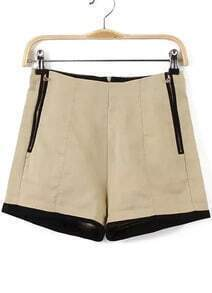With Zipper Slim Apricot Shorts