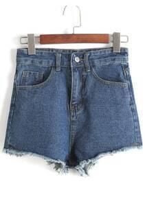 Fringe Denim Blue Shorts