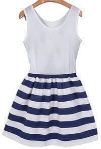 Round Neck Striped Flare Dress