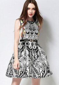 Vintage Print Flare Sun Dress