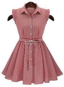 Lapel Vertical Stripe Pleated Flare Dress
