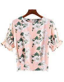 Ruffle Sleeve Florals Chiffon Top