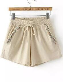 Khaki Elastic Waist Drawstring Bead Shorts