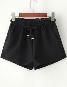 Black Drawstring Waist Pockets Shorts