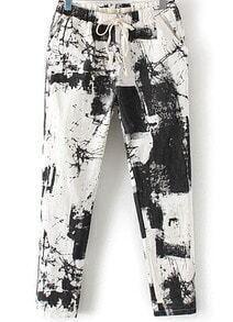 Black Drawstring Waist Abstract Print Pant