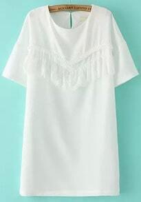 White Short Sleeve Lace Straight Dress