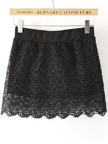 Black Hollow Lace Scalloped Skirt