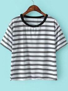 White Short Sleeve Striped Slim T-Shirt