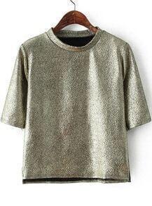 Gold Half Sleeve Snakeskin T-Shirt