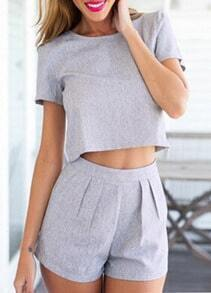 Short Sleeve Crop Top With Slim Shorts