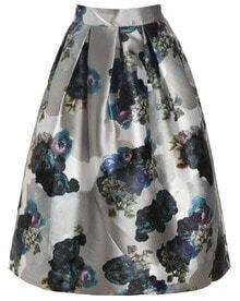 Flower Print Flare Skirt